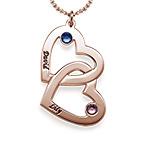 Collier pierre de naissance cœurs entrelacés plaqué or rose