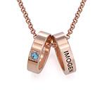 Collier pour maman avec anneaux gravés en plaqué or rose