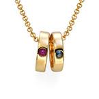 Collier pour maman avec anneaux gravés en plaqué or