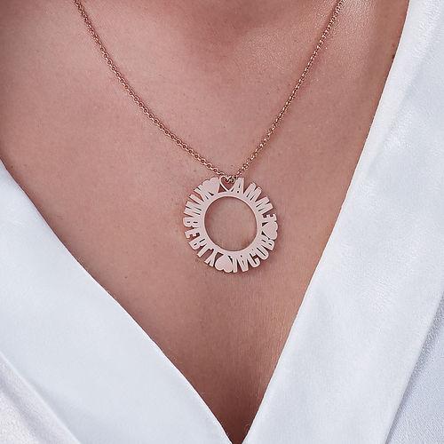 Collier prénom cercle en plaqué or rose - 2