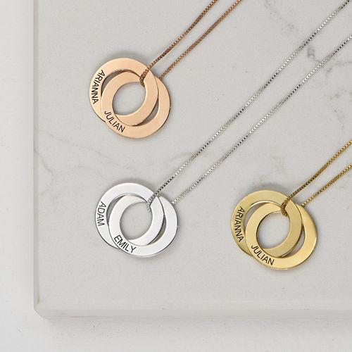 Collier russe avec 2 anneaux gravés - plaqué or rose - 2