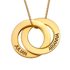 Collier russe avec 2 anneaux gravés - plaqué or