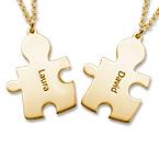 Colliers Couple Puzzle en Plaqué Or 18ct