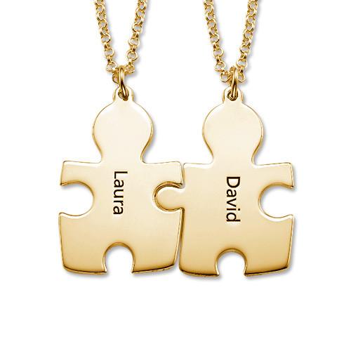 Colliers Couple Puzzle en Plaqué Or 18ct - 1