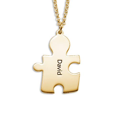 Colliers Couple Puzzle en Plaqué Or 18ct - 2