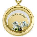 Médaillon pendentifs Enfants pour Maman en Plaqué Or