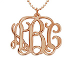 Collier Monogramme en Plaqué Or Rose 18k