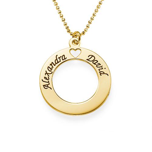 Pendentif Cercle d'amour plaqué or 18cts à graver
