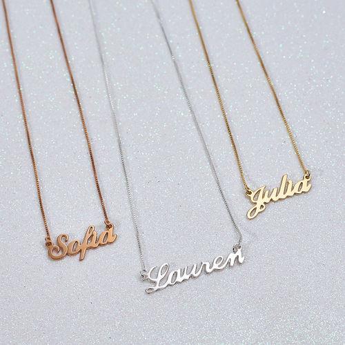 Petit Collier Prénom Style Classique Plaqué Or 18ct - 1