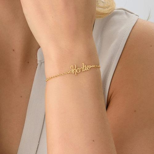 Petit bracelet prénom en plaqué or - 2