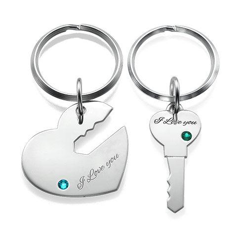 """Porte-Clés """"Clé de mon cœur"""" personnalisés pour couple"""