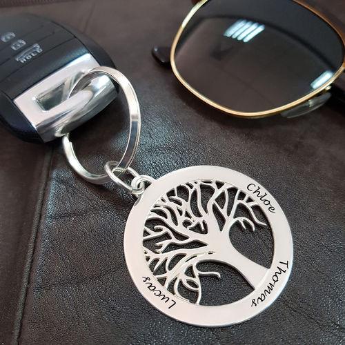 Porte-clés Arbre de vie Personnalisé en Argent - 2