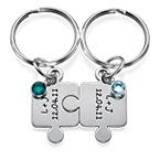Porte-clés Puzzle Couple avec Cristal