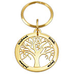 Porte-clés arbre de vie personnalisé en plaqué or