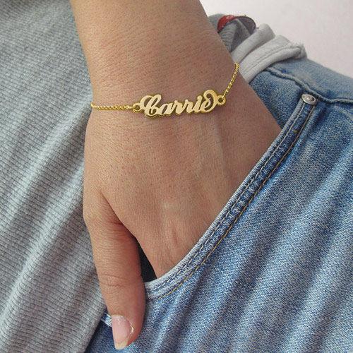 """Bracelet Prénom style """"Carrie Bradshaw"""" en Plaqué Or 18ct - 2"""