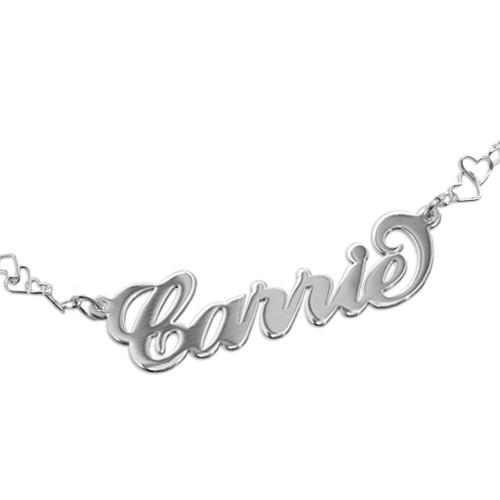 Bracelet Prénom style Carrie Bradshaw avec Chaîne Cœur - 1