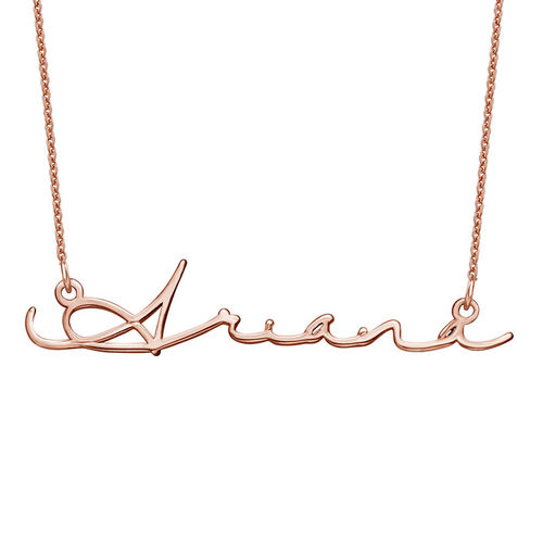 Collier prénom style signature - plaqué or rose