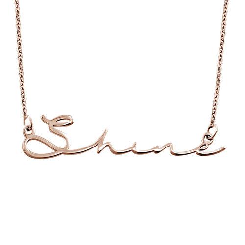 Collier prénom style signature - plaqué or rose - 1
