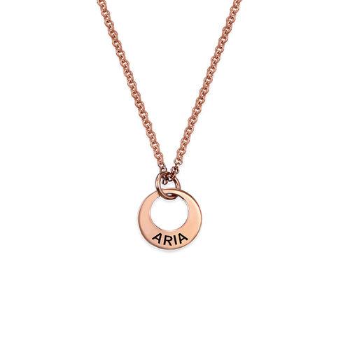 Petit collier disque en plaqué or rose