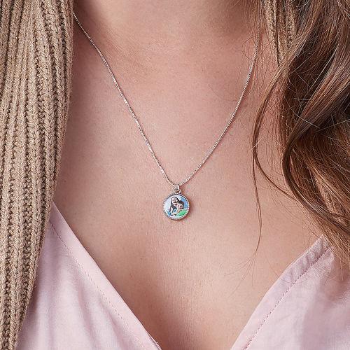 Petit collier pendentif rond avec photo - 3