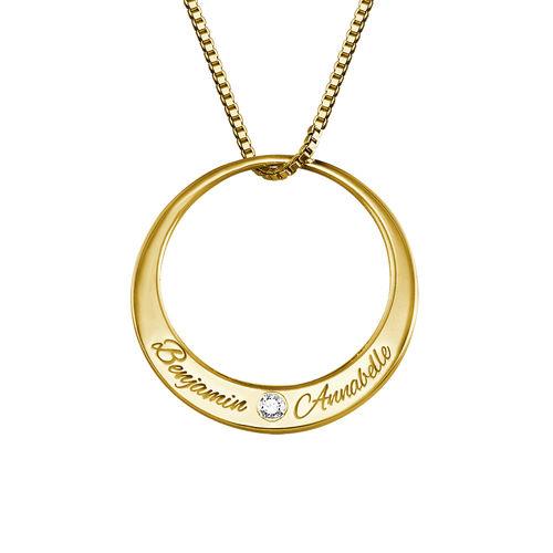 Collier cercle en plaqué or avec diamant