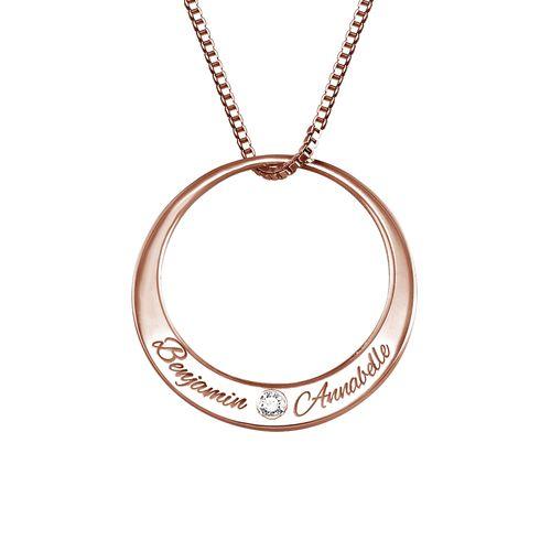 Collier cercle en plaqué or rose avec diamant