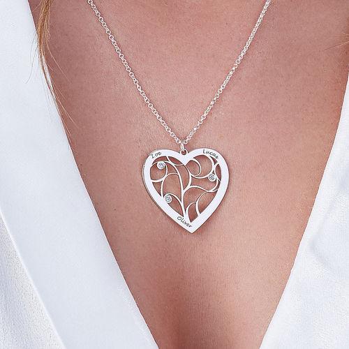 Collier cœur arbre de vie avec pierres de naissance en argent avec diamant - 2