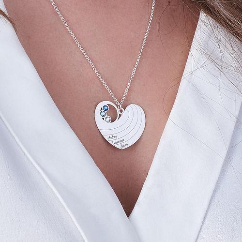 Collier cœur pour maman avec pierres de naissance en argent - 2
