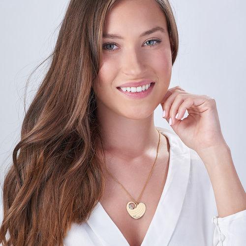 Collier cœur pour maman avec pierres de naissance en plaqué or - 2