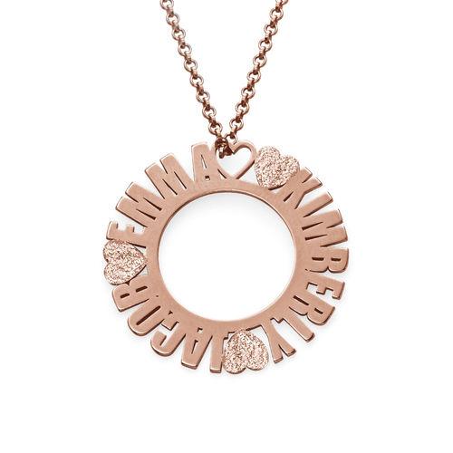 Collier prénom cercle en plaqué or rose avec effet diamant