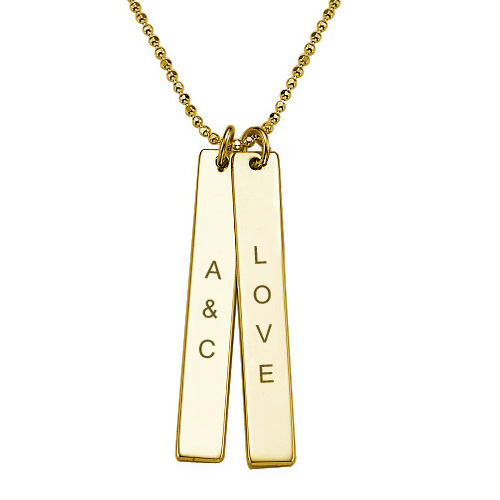 Collier Barre Vertical en or 10 cts - 1