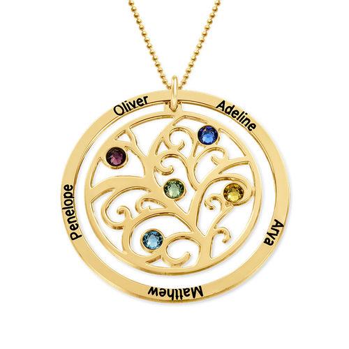 Collier arbre de vie avec pierre de naissance - or jaune 10 carats