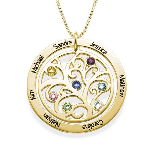Collier arbre de vie avec pierre de naissance - or jaune 10 carats - 1