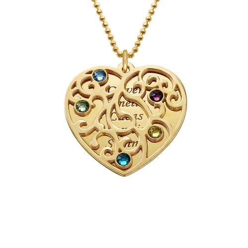 Collier Cœur de Famille Filigrane et pierres de naissance en plaqué or - 1
