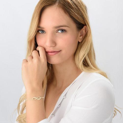 Bracelet infini gravé en plaqué or avec diamant - 1