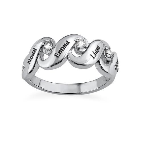 Bague pour Maman avec 4 pierres couleur diamant - 1