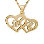 Collier Couple Initial personnalisé avec pendentif Coeur en Or 14Ct