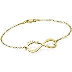 Bracelet infini avec prénoms en or 14 carats