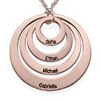 Collier Quatre cercles avec gravure en Plaqué Or Rose