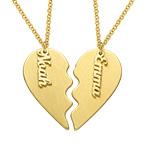 Collier en Coeur gravé pour couple en plaqué or mat
