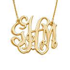 Collier monogramme célébrité en plaqué or avec diamant