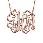 Collier monogramme célébrité en plaqué or rose avec diamant