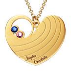 Collier cœur pour maman avec pierres de naissance en plaqué or