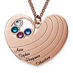 Collier cœur pour maman avec pierres de naissance en plaqué or rose