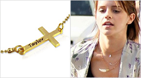 Emma Watson avec un Collier Croix Personnalisée