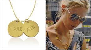 Heidi Klum avec un Collier Personnalisé avec pendentif à Graver