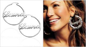 Jenifer Lopez avec Boucles d'oreilles Créoles Personnalisables
