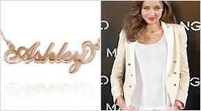 Miranda Kerr avec un Collier Plaqué Or Rose 18Ct Personnalisable