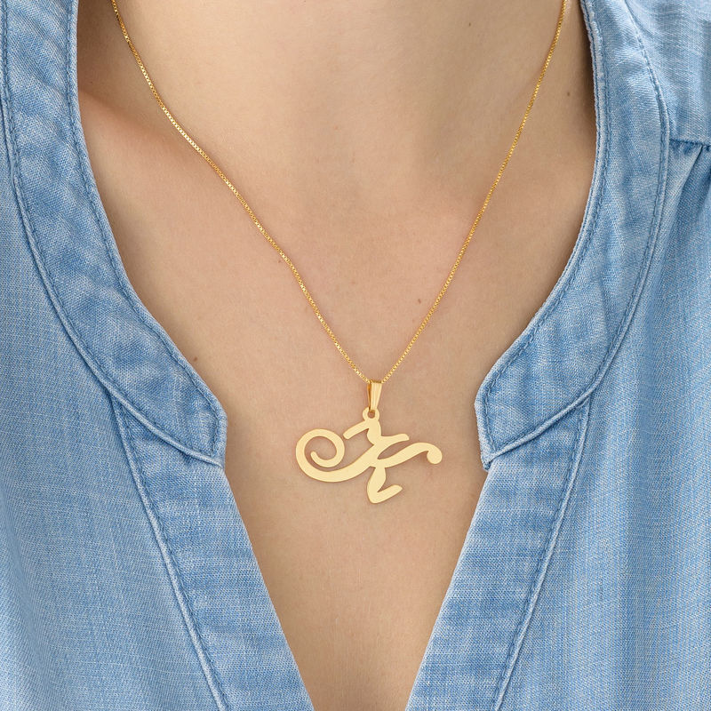 18ct Gold-Plated Initials Pendant With Any Letter - 2