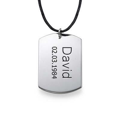 "Sterling Silver Men's ""Dog Tag"" Necklace"